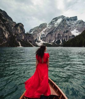 Suggestive Engagement photos on Lake Braies