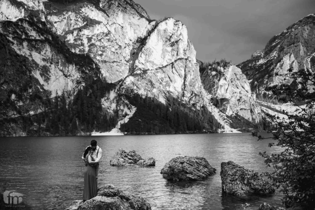 Married couple on Lake Braies in black and white